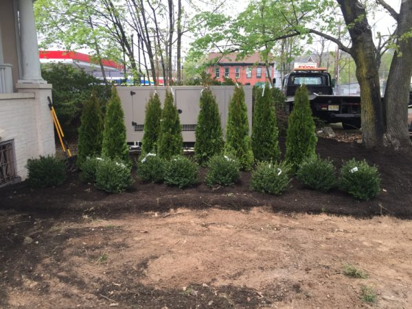 Installation of a 80kw kohler commercial generator - Lambertville, NJ - We did the landscaping too!