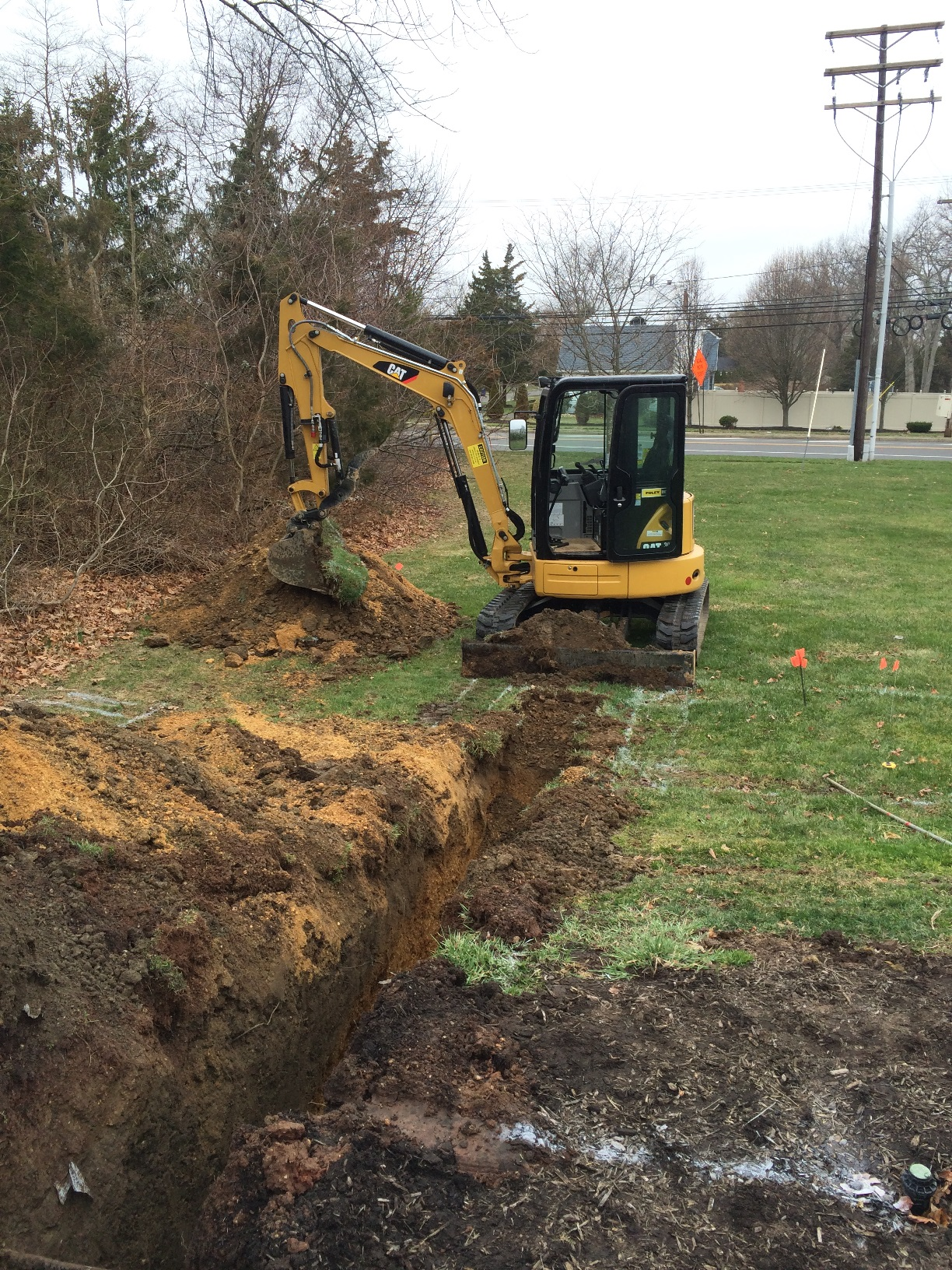 Trenching for a 150kw Caterpillar Generator Relocation Project in Toms River, NJ